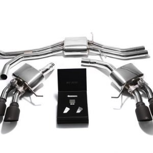 ARMYTRIX VALVE TRONIC EXHAUST to suit Macan S/GTS  2014-2018 3.0 litre V6 twin Turbo  Macan turbo  2014-present  3.6 litre V6 twin turbo with  Quad Blue Coated 4″ Tips