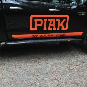 PIAK Protection to suit Side Steps Curved Down  AL Checker Plate Anodized Silver Toyota Hilux 2015+